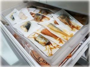 冷凍庫にお魚