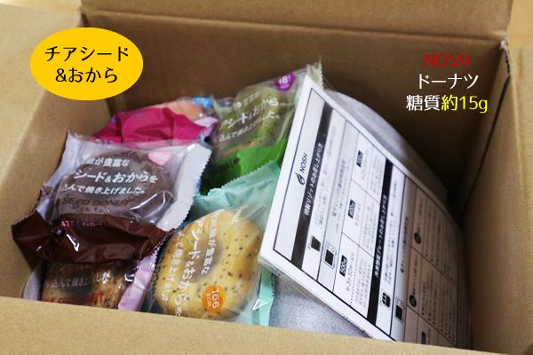 「nosh」のチアシード&おからドーナツが箱で届きます
