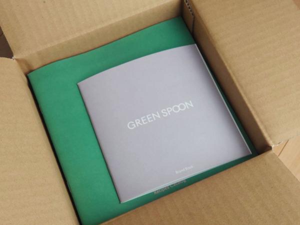 Greenspoonスムージーの箱とパンフレット