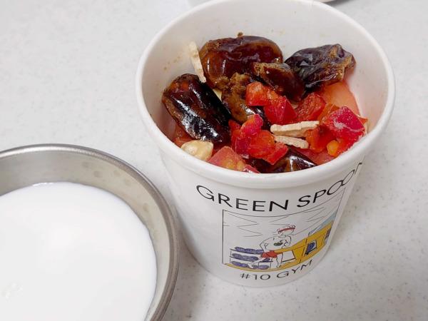 green spoonスムージー #10 GYMと牛乳
