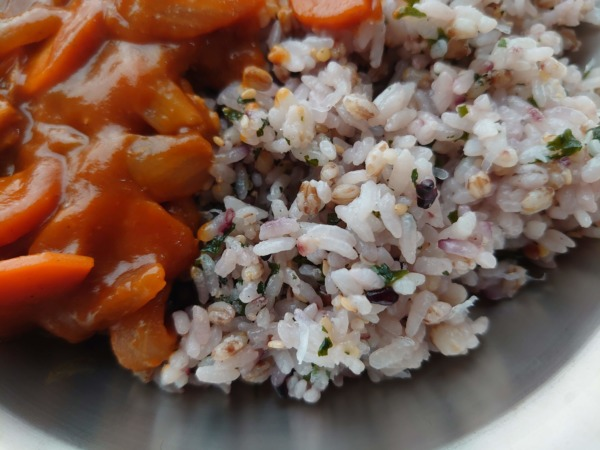 「FIT FOOD HOME」十穀もち麦ごはんのハヤシライスのアップ
