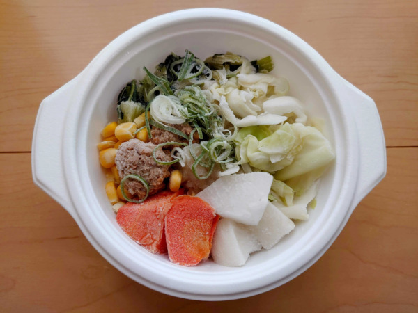 冷凍の状態のベジ活スープ食